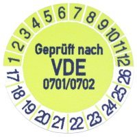 12 x Prüfplaketten / Gelb / Geprüft nach VDE...