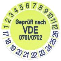 1 x Prüfplakette / Gelb / Geprüft nach VDE...